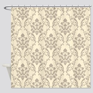 Damask Pattern Cream Shower Curtain