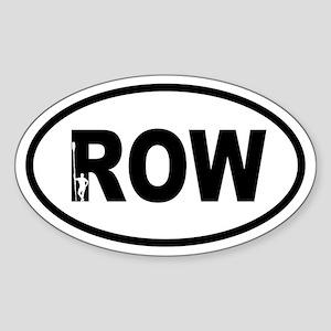 Row Oarsman Oval Sticker