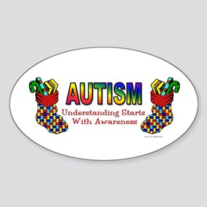 Autism Christmas Stocking 5 Oval Sticker