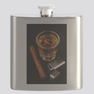 Whiskey And A Cigar On A Black Backgroound Flask