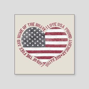 "I Love USA Square Sticker 3"" x 3"""