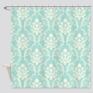 Aqua Damask Lace Look Shower Curtain