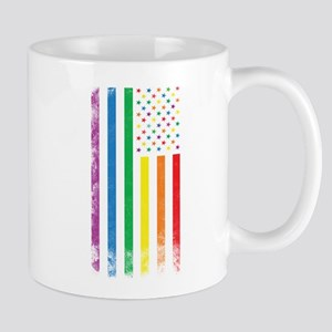 Rainbow American Flag Mugs
