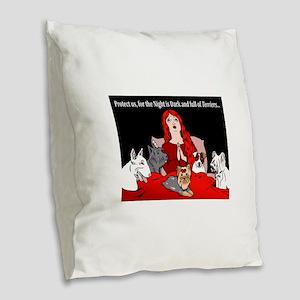 Night of Terriers Burlap Throw Pillow