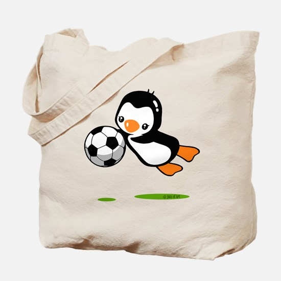 Soccer Penguin Tote Bag
