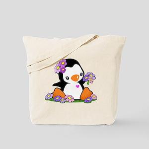 Flower Penguin Tote Bag