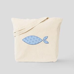 Baby Blue Polkadot Fish Tote Bag