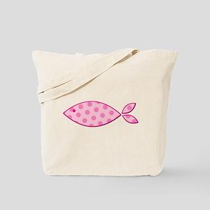 Pink Polkadot Fish Tote Bag