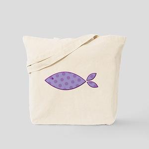 Purple Polkadot Fish Tote Bag