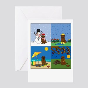 Chocolate Lab Four Seasons Greeting Card