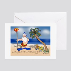 Tropical Santa Claus Greeting Cards