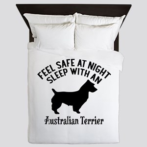 Sleep With Australian Terrier Dog Desi Queen Duvet
