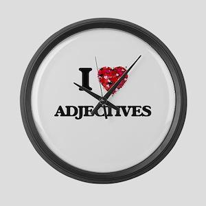 I Love Adjectives Large Wall Clock