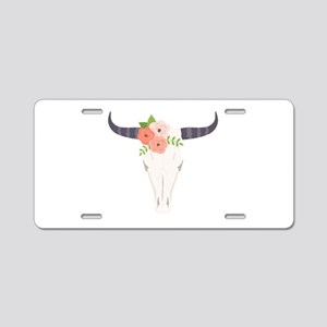 Cow Skull Flowers Bohemian Aluminum License Plate