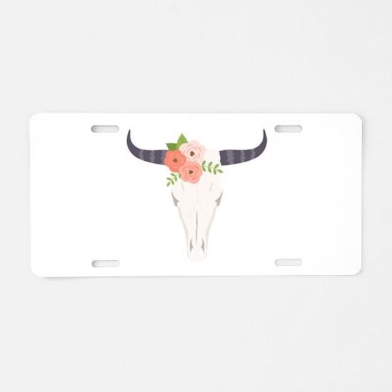 Cow Skull Flowers Bohemian Aluminum License Plate