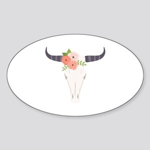 Cow Skull Flowers Bohemian Sticker