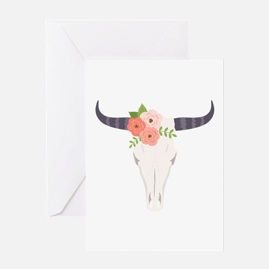 Cow Skull Flowers Bohemian Greeting Cards