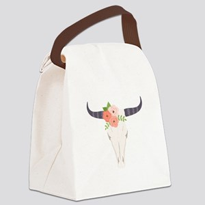 Cow Skull Flowers Bohemian Canvas Lunch Bag