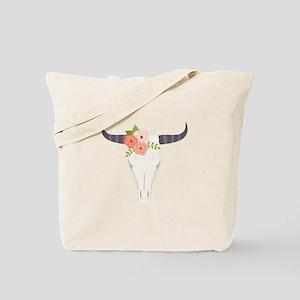 Cow Skull Flowers Bohemian Tote Bag