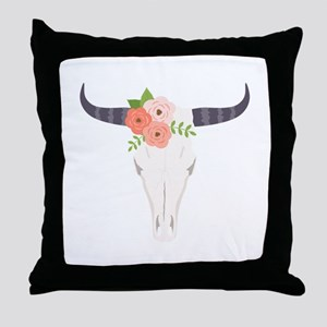 Cow Skull Flowers Bohemian Throw Pillow