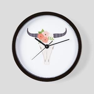 Cow Skull Flowers Bohemian Wall Clock