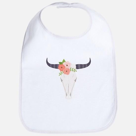 Cow Skull Flowers Bohemian Bib