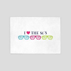 Eighties Shades Sunglasses Love 5'x7'Area Rug