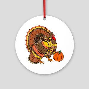 Holiday Turkey Ornament (Round)