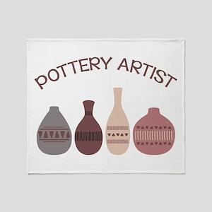 Pottery Artist Vases Throw Blanket