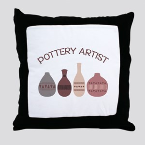 Pottery Artist Vases Throw Pillow