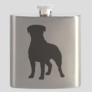 Rottweiler Silhouette Flask