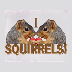 I Love Squirrels Throw Blanket