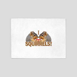 I Love Squirrels 5'x7'Area Rug