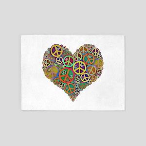 Peace Sign Heart 5'x7'Area Rug