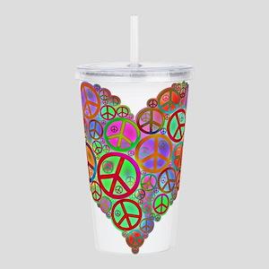 Peace Sign Heart Acrylic Double-wall Tumbler