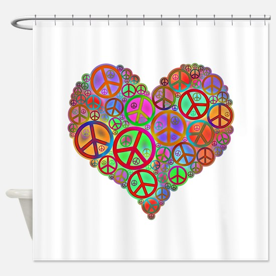 Peace Sign Heart Shower Curtain