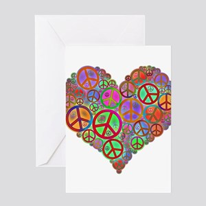 Peace Sign Heart Greeting Cards