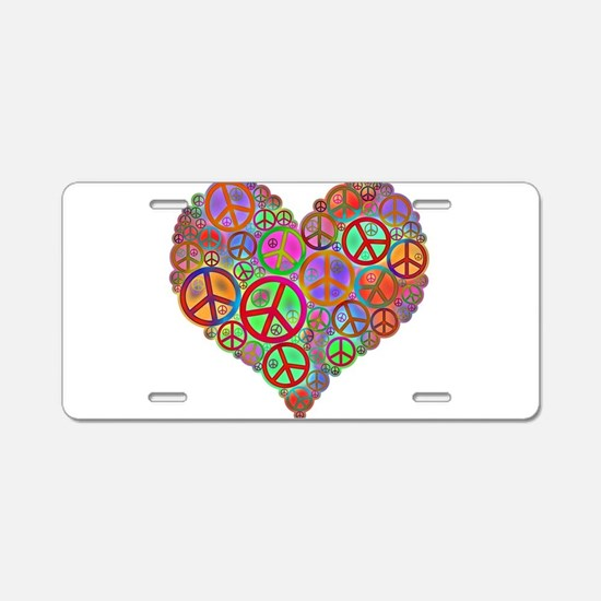 Peace Sign Heart Aluminum License Plate