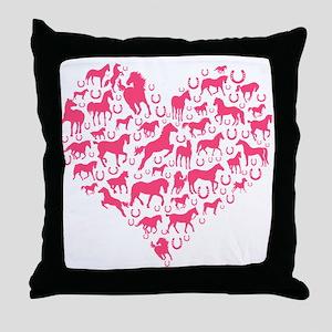 Horse Heart Pink Throw Pillow