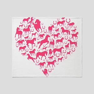 Horse Heart Pink Throw Blanket