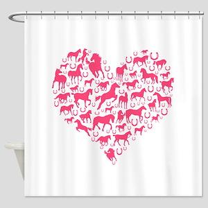 Horse Heart Pink Shower Curtain