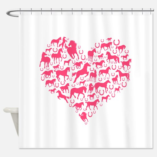 Horse Heart Pink Shower Curtain