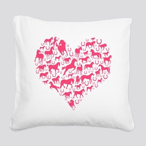 Horse Heart Pink Square Canvas Pillow