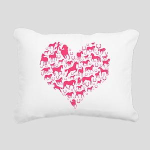 Horse Heart Pink Rectangular Canvas Pillow