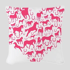 Horse Heart Pink Woven Throw Pillow