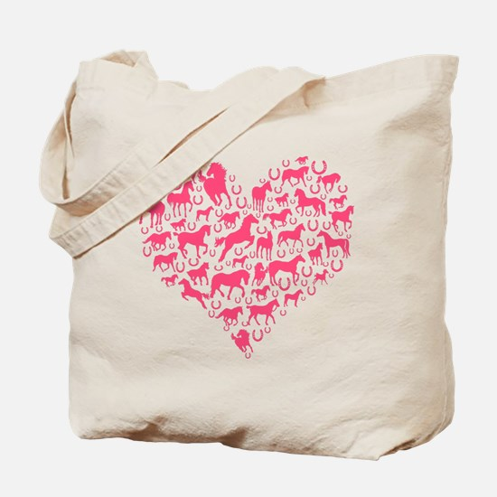 Horse Heart Pink Tote Bag