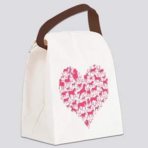 Horse Heart Pink Canvas Lunch Bag