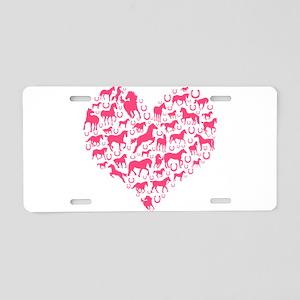 Horse Heart Pink Aluminum License Plate