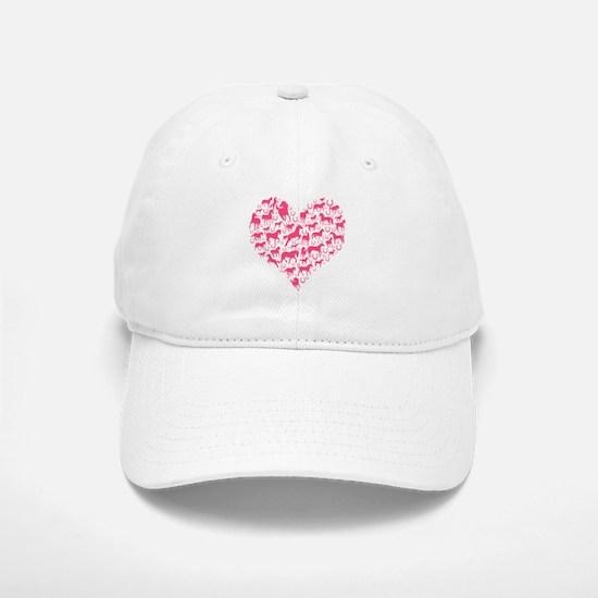 Horse Heart Pink Baseball Baseball Cap