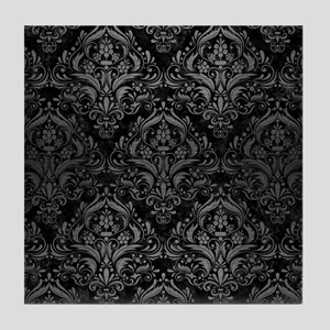 DAMASK1 BLACK MARBLE & GRAY BRUSHED M Tile Coaster